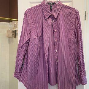 3x Ralph Lauren long sleeve purple n white shirt